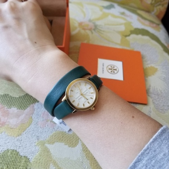 aad28d41a Tory Burch Accessories | Watch Gigi Doublewrap Green Leather | Poshmark